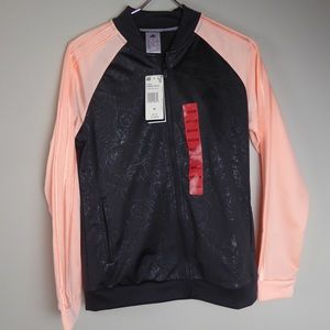 Adidas Colorblock Floral Embossed Track Jacket NWT